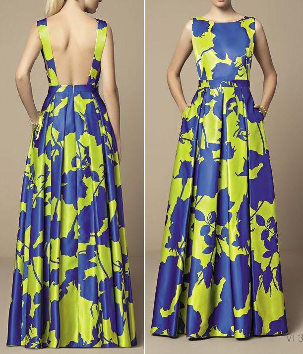 Vestido de festa com pregas e decote nas costas e esquema de modelagem do 36 ao 56.
