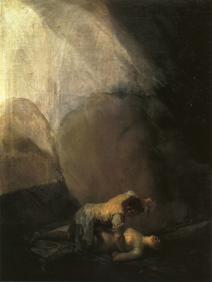 "Francisco de Goya: ""Bandido asesinando a una mujer"". Oil on canvas, 40 x 32 cm, c. 1806-08. Marqués de la Romana Collection, Madrid, Spain"