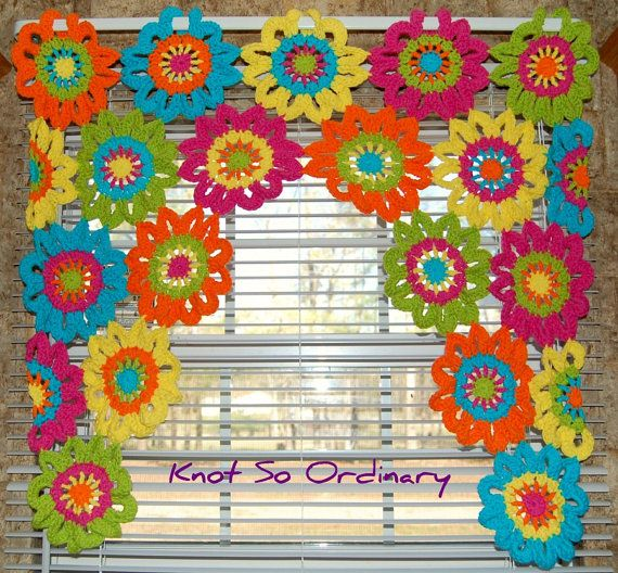 Ventana cenefa cenefa flor cortina de la cocina ganchillo