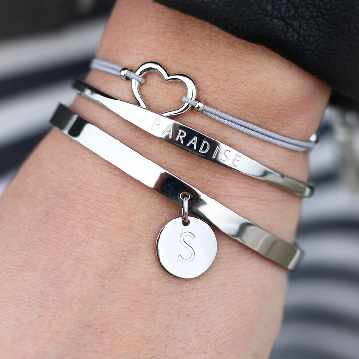 Silver armparty with silver initial bracelet with 'Paradise' quote bangle bracelets & heart bracelet - available via my-jewellery.com | #armparty #bracelets #giftidea #initial #myjewellery