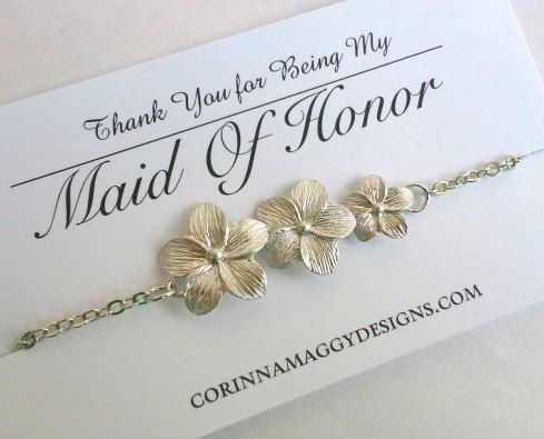Triple Flower Bracelet, Silver Gold, Bridesmaid gift, Maid of honor gift, mother of the bride gift, sister, daughter, beach wedding jewelry via Etsy