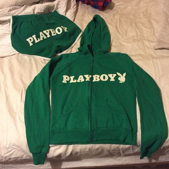 Vintage playboy jumpsuit (hoodie and shorts)womens True vintage piece, no cracking of the letters at all, excellent condition over all. Vintage playboy Merch is super hard to find.please make an offer price is totally negotiable! Adidas Pants Jumpsuits & Rompers