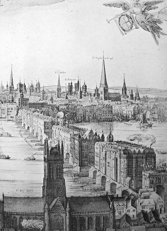An engraving by Claes Van Visscher showing Old London Bridge in 1616, with Southwark Cathedral in the foreground. The spiked heads of executed criminals can be seen above the Southwark gatehouse