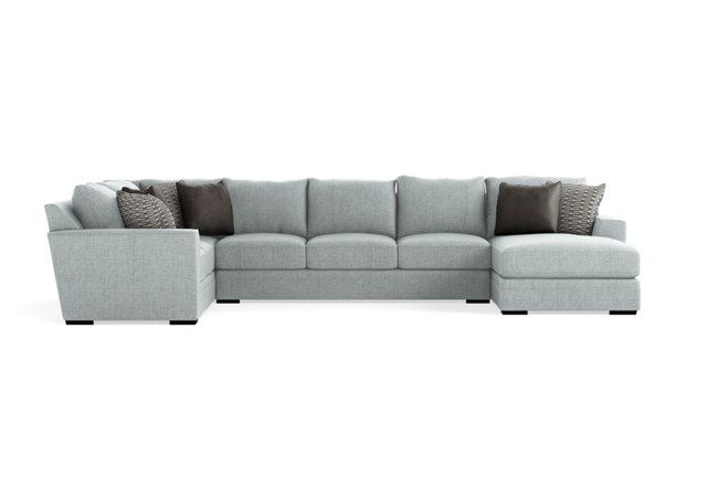 Delano Pearl 3 Piece Sectional With Right Arm Facing Chaise 3 Piece Sectional Sectional Chaise