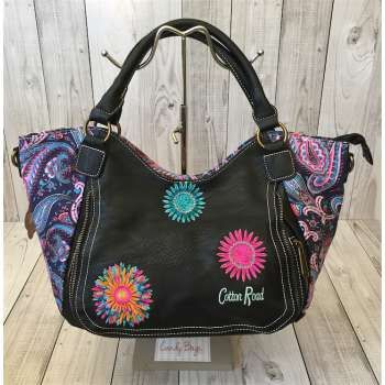 Cotton Road Black Leather Trim Colourburst Large Handbag