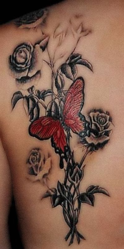 Black Butterfly Shoulder Tattoos Red Butterfly On Roses Tattoo Butterfly Tattoo Gallery Dmmpjio