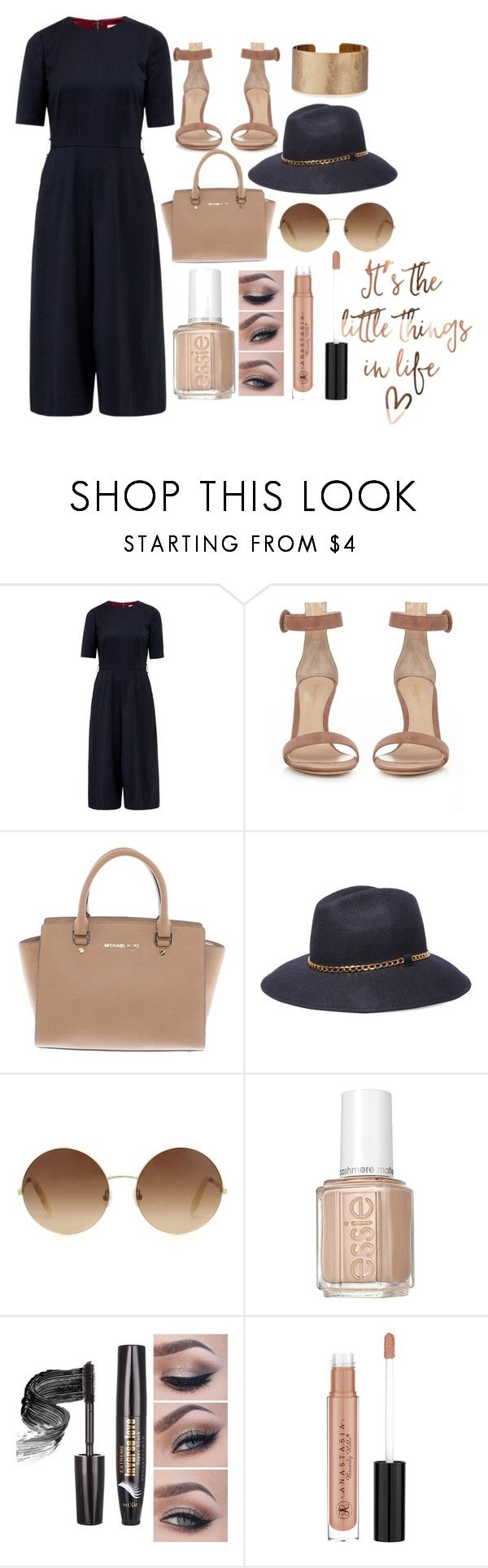 """""""The little things in life that make it 👍🏾"""" by fashionistaintheseason ❤ liked on Polyvore featuring Ted Baker, Gianvito Rossi, Michael Kors, 8, Victoria Beckham, Essie, Anastasia Beverly Hills and Panacea"""