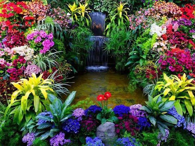 Fototapete Teiche Gartenanlage Brunnen Wasserfalle Schoner Blumengarten Schone Garten Blumen Wunderschone Bilder
