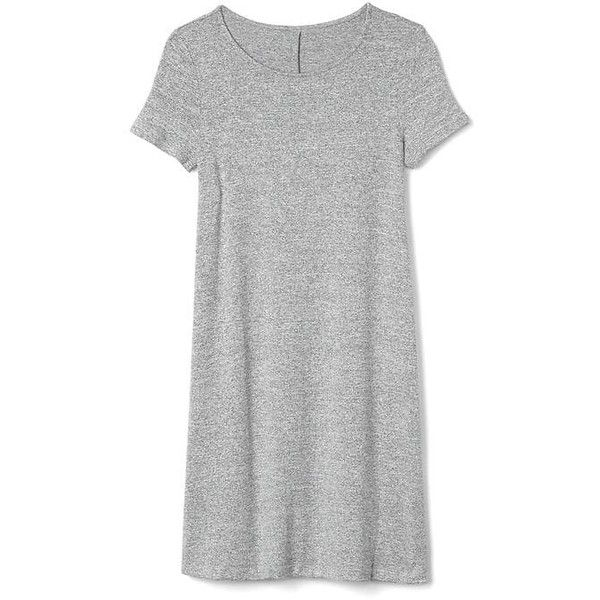 Gap Women Softspun Short Sleeve T Shirt Dress (£28) ❤ liked on Polyvore featuring dresses, light grey marle, tall, short sleeve t shirt dress, light gray dress, swing skirt, jersey dress and short sleeve dress