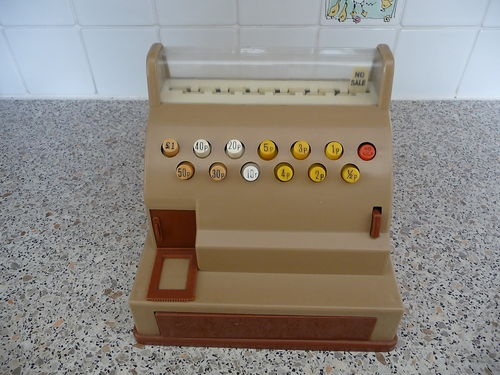 Casdon Vintage Toy Till Cash Register essential in my childhood shop. Loved but couldn't understand the 'No Sale' flas and Judy my poodle used to eat the plastic money
