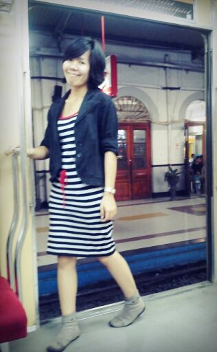 #blazer #black #boots #shoes #minidress #stripes