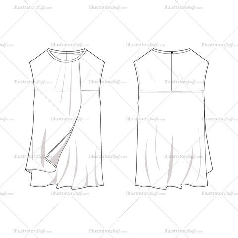 Women's Sleeveless Asymmetrical Draped Blouse Fashion Flat Template