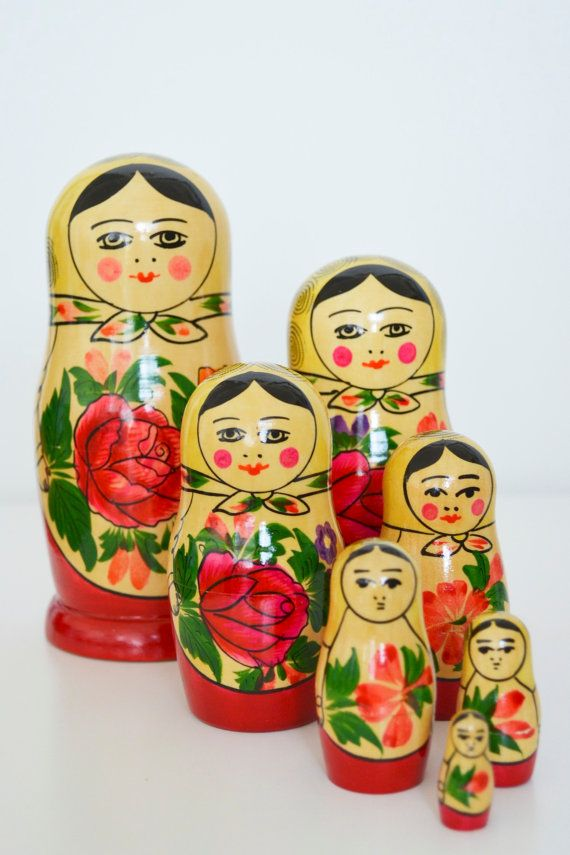 Vintage Matryoshka doll made in Russia. Usually given as gifts in russia for special holidays mosty for Christmas.