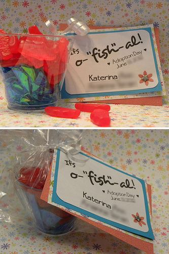 "Swedish Fish ""It's o-fish-al"" favors for an adoption party"