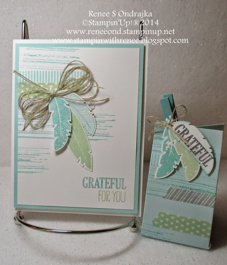 #SU Four Feathers, Gorgeous Grunge in Pool Party and Coastal Cabana and Washi Tape - Renee's Rubber Stampin' Ramblings (2 4 6 8 box and matching card)