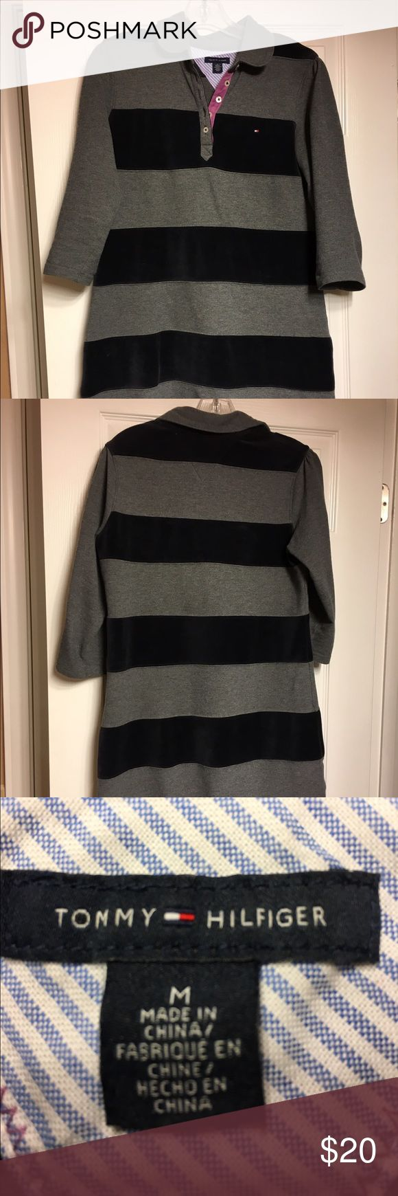 Tommy Hilfiger dress Navy velvet and grey cotton striped dress. Very comfy. Looks great with boots. Tommy Hilfiger Dresses Midi