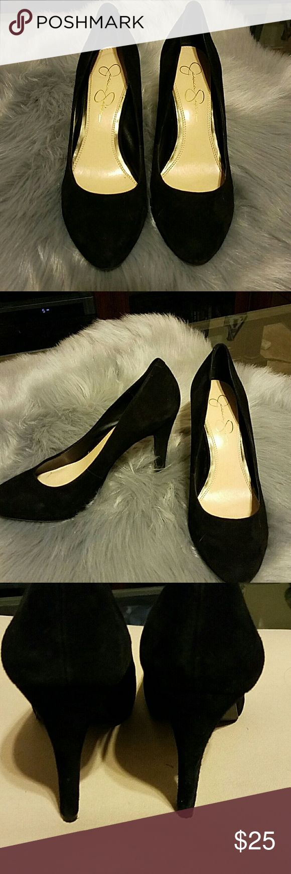 Jessica Simpson heels Excellent condition Jessica Simpson black suede pumps! Very comfortable with 4 inch heel. I have several pairs of black pumps so this pair is like brand new and had only been worn once. No box available. Jessica Simpson Shoes Heels