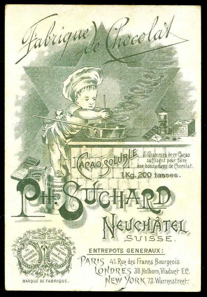 Suchard Tradecard - Suchard Chocolate c1892.