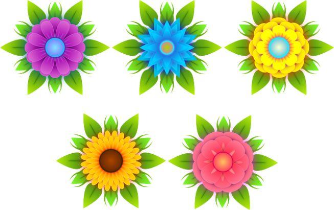 Gambar Bunga Kartun - Beraneka Bentuk