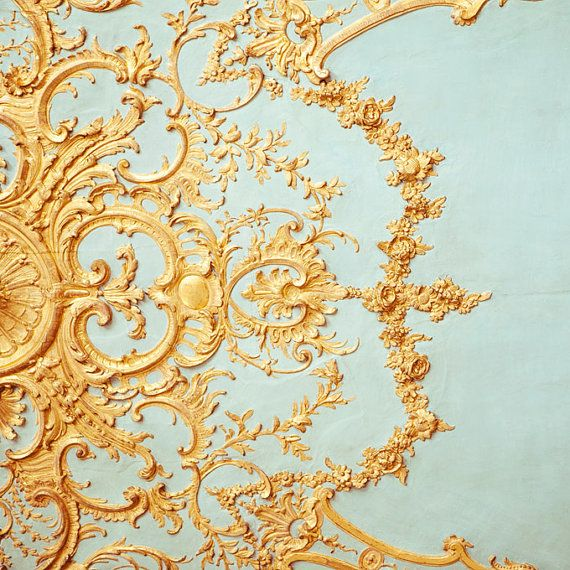 Folie - Paris Photograph, Versailles Detail, Romantic, Pretty, Feminine, Mother's Day, Robins Egg Blue, Gold, Home Decor For Her