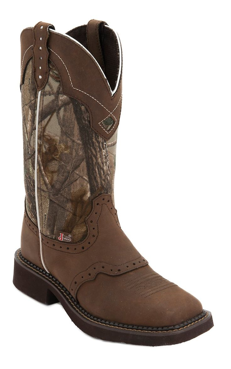 boots camo justin toe square brown gypsy western bark saddle tree vamp womens cowboy aged cavenders cowgirl country realtree boot