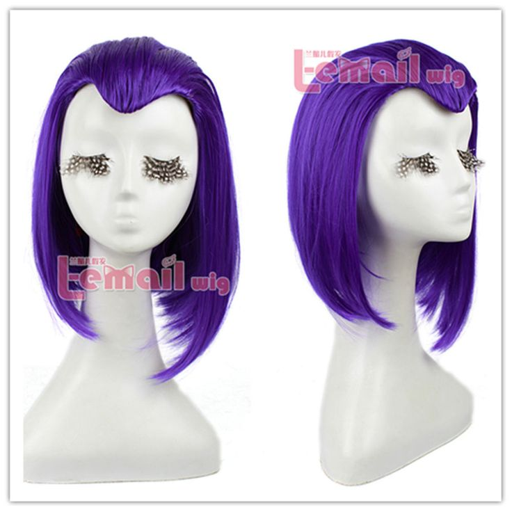 35CM Raven From Teen Titans Medium Long Purple Anime Cosplay Hair Gull Wig ZY10 #Lemail #FullWig