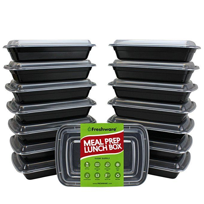 Freshware Meal Prep Containers [15 Pack] 1 Compartment with Lids, Food Containers, Lunch Box | BPA Free | Stackable | Bento Box, Microwave/Dishwasher/Freezer Safe, Portion Control, 21 day fix (28 oz)