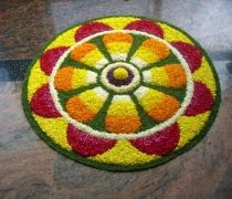 New Kolam with dots rangoli and flower rangoli designs.