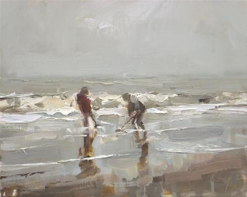"""Daily Paintworks - """"Seascape winter #28 Grey day S..."""" by Roos Schuring"""