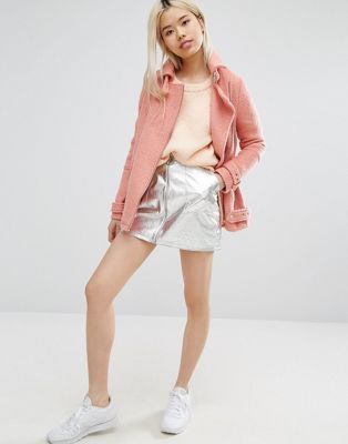STYLENANDA Metallic Mini Skirt With Pull Zip Ring