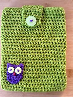 Little Owl eBook Reader Cover - Free crochet pattern by Nicola Newington. Neat protection for an iPad mini, Kindle, Nook etc.