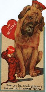 """Vintage Dachshund Valentine - A Dachshund shares a Valentine with a great big dog friend:  """"Over you I'm simply dippy - ask me and I'll answer YIPPY!"""""""