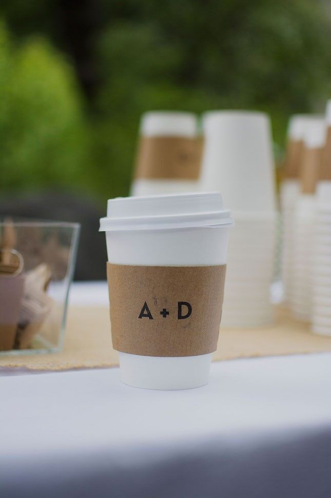 Personalize coffee cup sleeves with a minimalistic monogram.