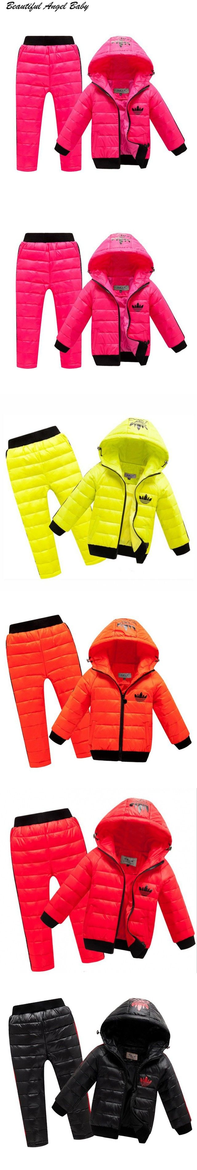 2016 Hoodies Down Jacket + Trousers Waterproof Snow Warm kids Clothes New Children Boys girls Clothing sets 2-8year