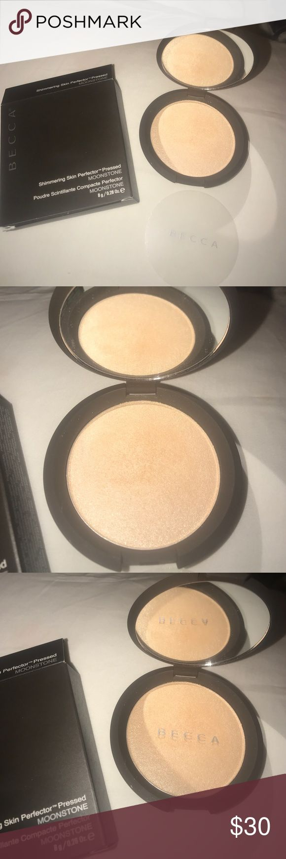 """NEW••BECCA """"MOONSTONE"""" PRESSED SKIN PERFECTER New in box. Love this one but have too many others opened and in use at the moment. FULL SIZE. PRESSED POWDER. Always authentic. Price is firm unless bundled. Thanks for looking and have a happy day. Makeup Luminizer"""