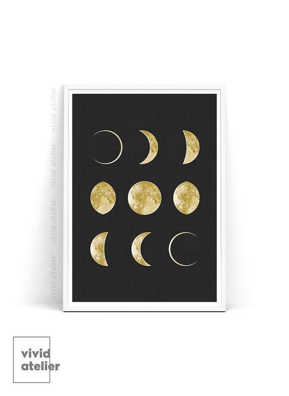 Nieuwe maan fasen Print, Maan Poster, Luna Print, goud Maan Wall Art, beste Printable kunst, voor kinderkamer, Instant Download, geometrische Art Print