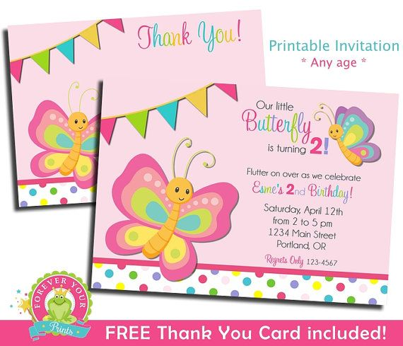 Butterfly Birthday Invitation / Butterfly by ForeverYourPrints | Sofias Party | Butterfly birthday, Butterfly invitations, Butterfly 1st birthday