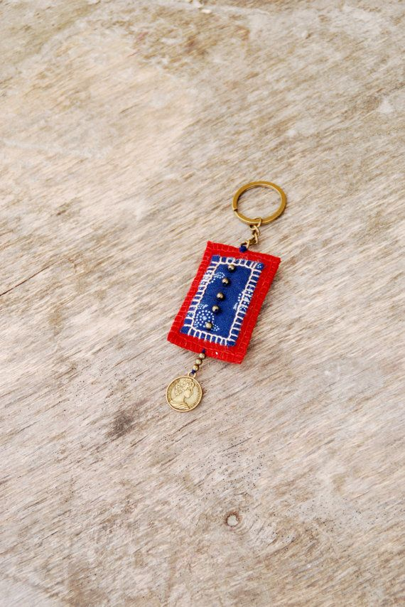Eco friendly textile keychain Blue and red