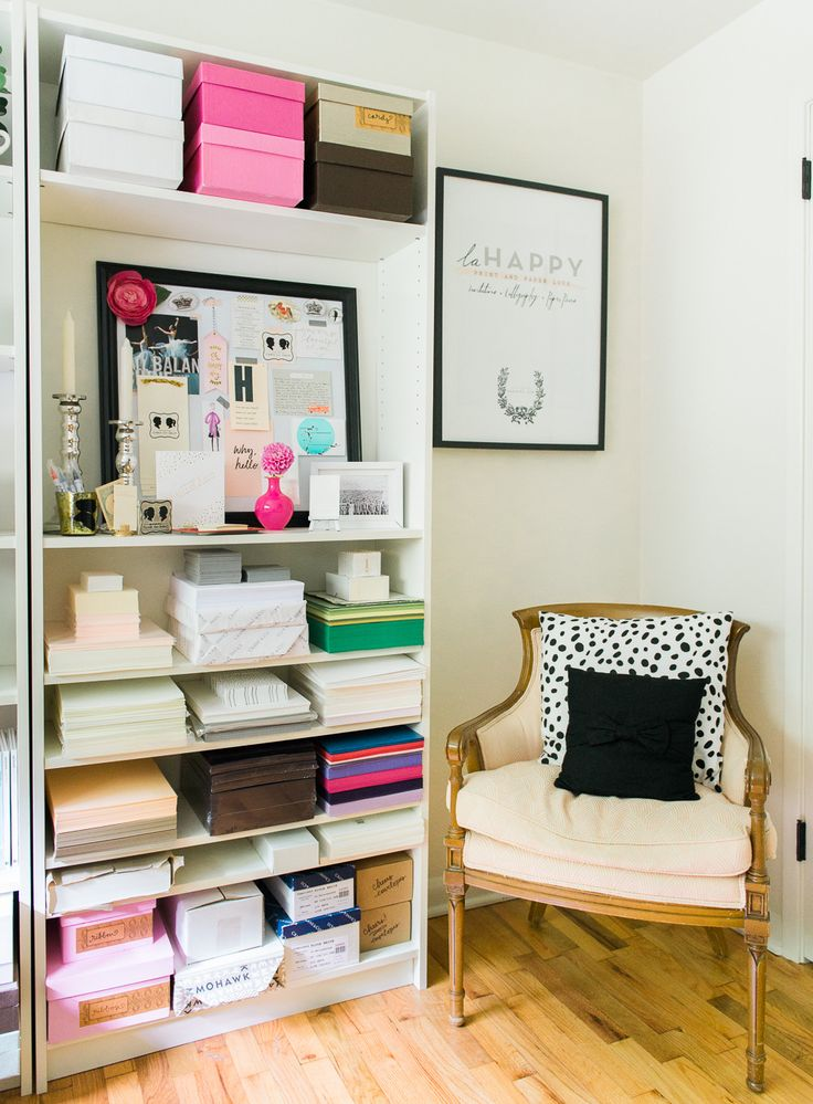 #Storage   #Bookshelves    O'Malley Photographers   See more on #SMPLiving: http://www.stylemepretty.com/living/2013/12/04/la-happy-studio-tour-free-gift-tag-printable/
