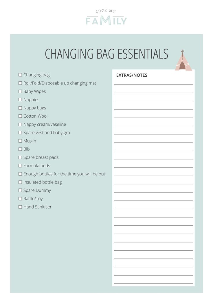 Checklist of Changing Bag Essentials - Rock My Family blog | UK baby, pregnancy and family…