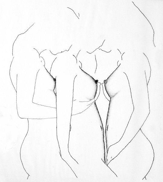 Drei Frauen, Tuschezeichnung, Künstler: Reinhard Schäffler