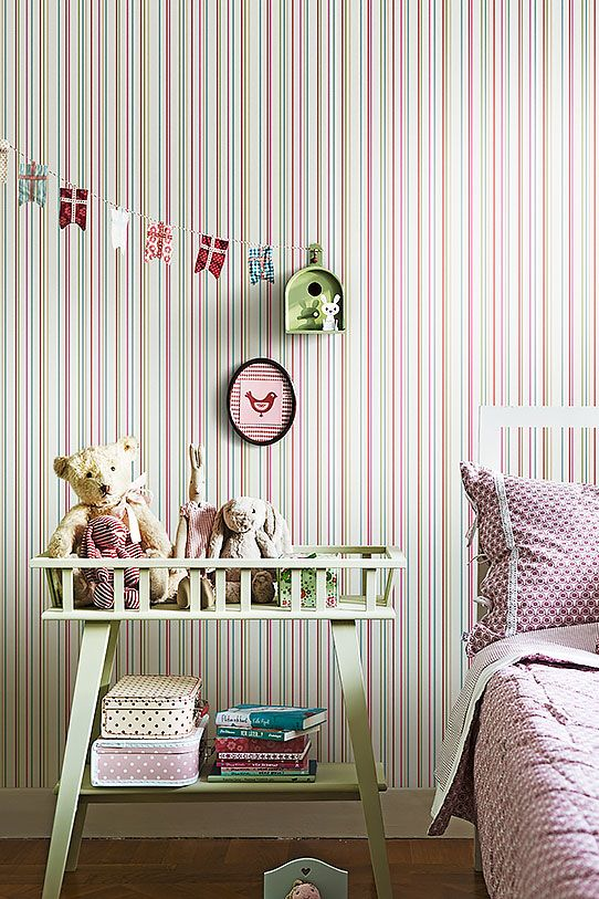 Wallpaper from the collection Lilleby in the color Red, Pink, Blue, Green, White and pattern Stripes.