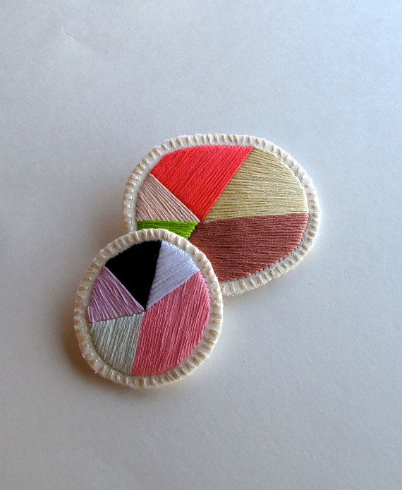 Geometric colorful brooch set of two by AnAstridEndeavor on @Etsy