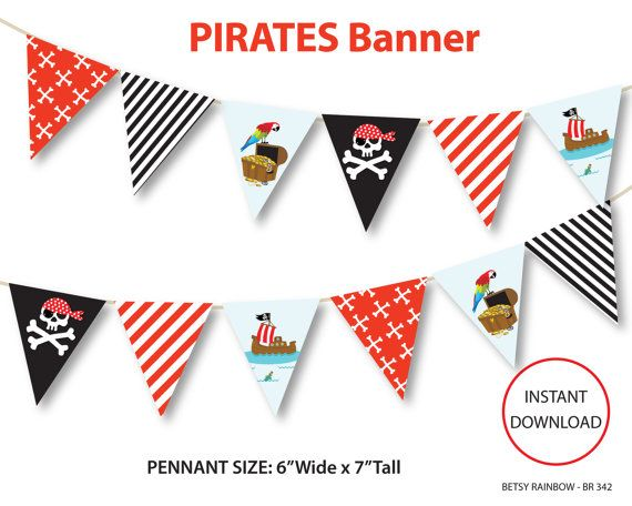 Pirates banner, printable banner, pirates party printables, pirates, skull - BR 342