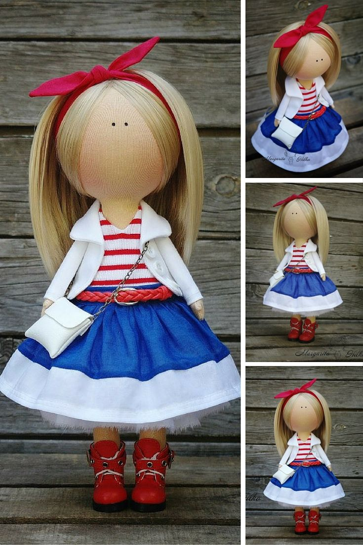Art doll blonde blue red Handmade Collectable doll Tilda doll Decor doll Home…