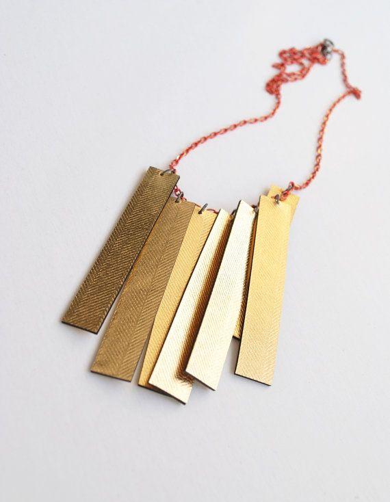 Gold boho necklace leather necklace minimal by elfinadesign