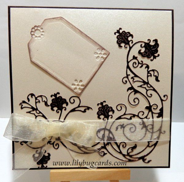 Again a tag to have stamped or die cut words on when required.  Why ivory/brown combo, no idea but works.  Die cuts were embossed with Dark Brown before adding to card