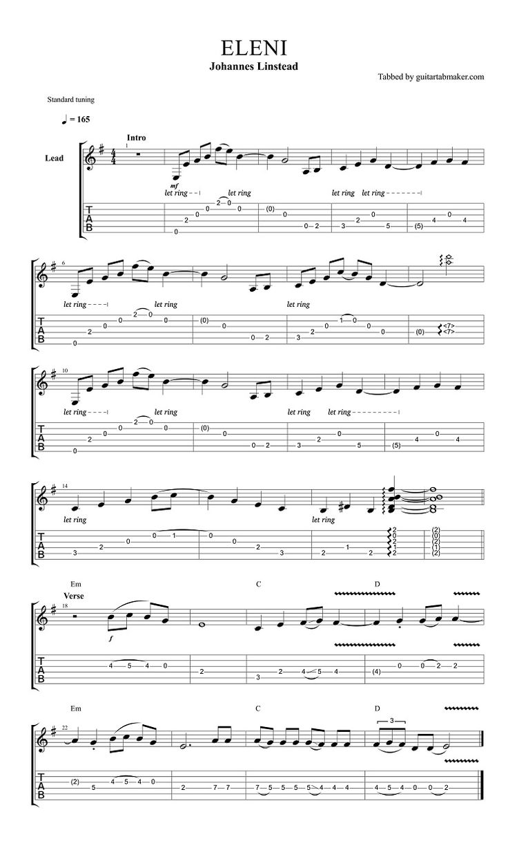 Best 25 guitar tabs ideas on pinterest guitar chords guitar johannes linstead eleni guitar tab guitar pro tab acoustic guitar music hexwebz Images