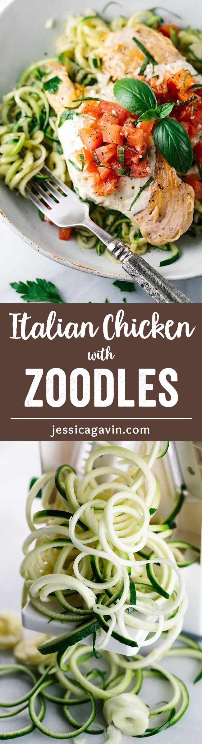 Bruschetta Chicken with Zucchini Noodles - Classic Italian comfort food gets a healthy twist with spiralized vegetable noodles!  via /foodiegavin/