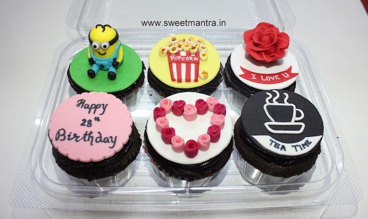 Minion, Pop corn, Tea, Love theme customized 3D designer fondant cupcakes for wife's birthday at Pashan, Pune